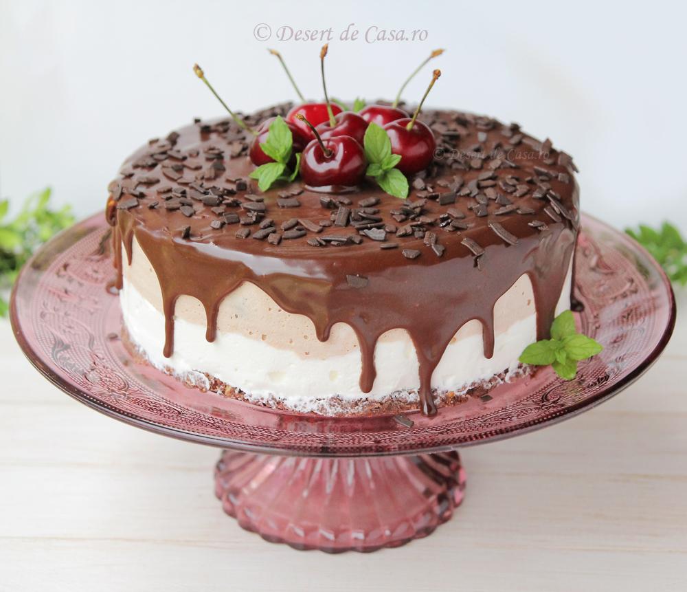 tort cu inghetata , cirese si ciocolata
