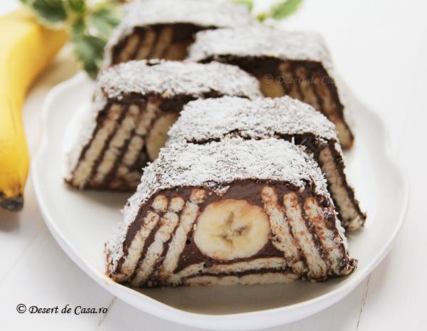 Prajitura cu biscuiti si banane reteta