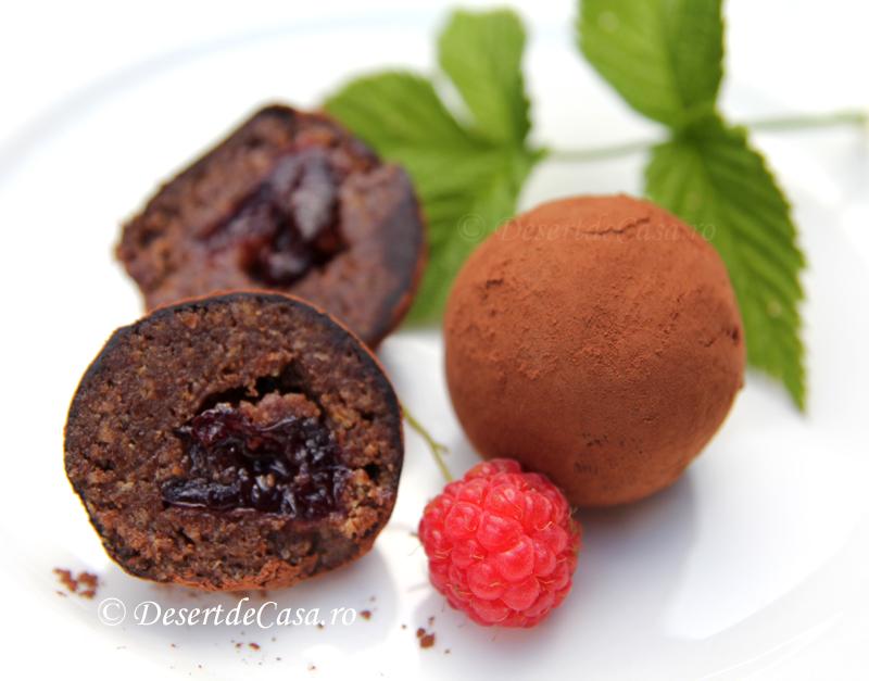 Trufe cu ciocolata si cirese confiate